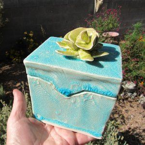 Handmade Green and Blue Crackle Glaze Box